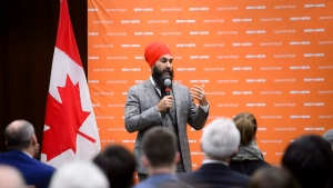NDP Leader Jagmeet Singh addresses his NDP staff as they gather for their annual Staff Forum in Ottawa on Tuesday, Dec. 4, 2018. THE CANADIAN PRESS/Sean Kilpatrick