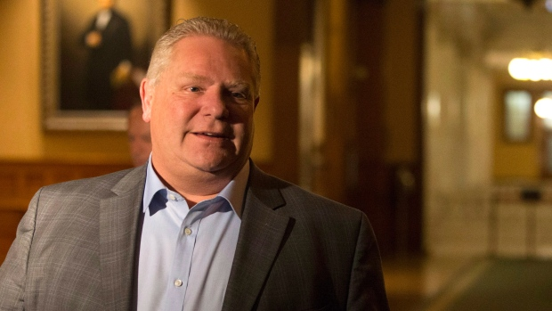 Ontario Premier Doug Ford leaves an early morning PC Caucus meeting at the Ontario Legislature in Toronto on Thursday, November 29, 2018. Earlier in the morning it was announced that PC MPP Amanda Simard had resigned from the party, breaking ranks ranks over cuts to francophone services. (THE CANADIAN PRESS/Chris Young)