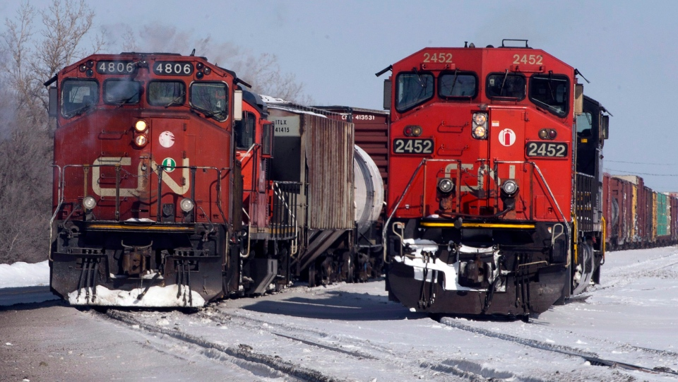 In this file photo, Canadian National locomotives are seen in Montreal on Monday, February 23, 2015. (THE CANADIAN PRESS / Ryan Remiorz)
