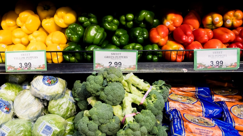 Produce is shown in a grocery store in Toronto on Friday, Nov. 30, 2018. An annual report estimates the average Canadian family will pay about $400 more for groceries and roughly $150 more for dining out next year. THE CANADIAN PRESS/Nathan Denette