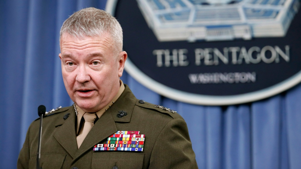 Marine Lt. Gen. Kenneth F. McKenzie Jr., director, Joint Staff, speaks during a media availability at the Pentagon, Saturday, April 14, 2018, in Washington. (AP Photo/Alex Brandon)