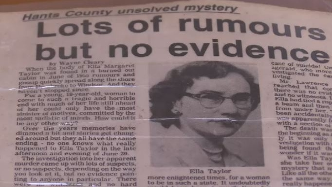 Ella Taylor was killed in Pembroke, N.S. in June 1955. Her murder has never been solved.