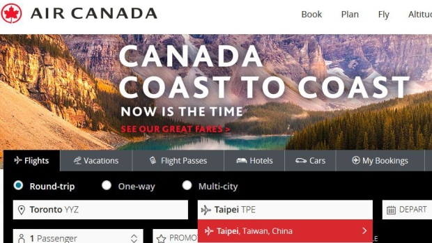 Air Canada lists Taipei as China