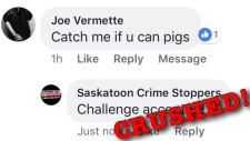 Saskatoon Crime Stoppers' Facebook page