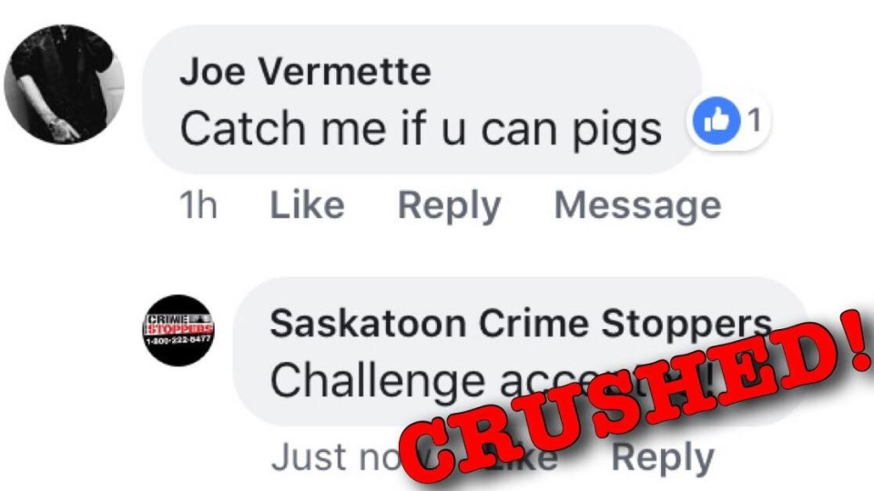 "A Facebook user wrote ""catch me if you can pigs"" on Saskatoon Crime Stoppers' Facebook page."