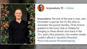 Bryan Adams gives thanks to a local charity ahead of this year's holiday season.