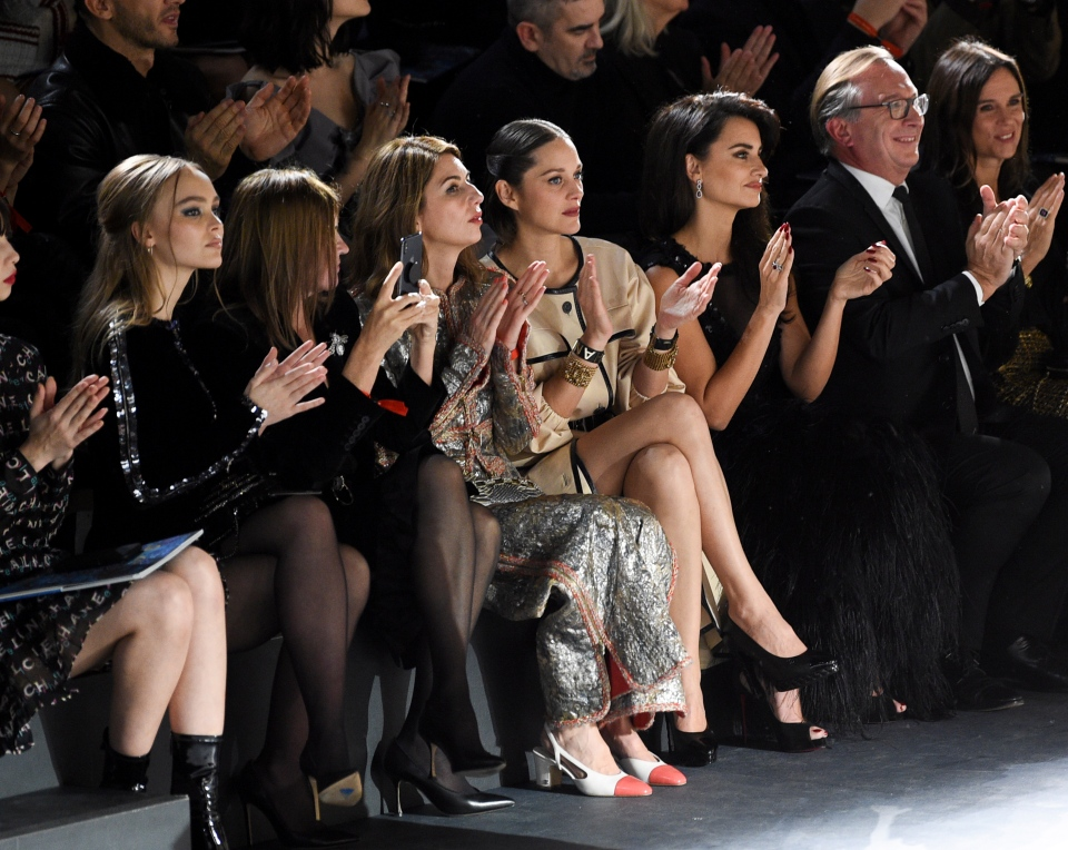 Model Lily-Rose Depp, left, fashion editor Carine Roitfeld, director Sofia Coppola, actress Marion Cotillard and actress Penelope Cruz attend the Chanel Metiers d'Art 2018/19 Show at the Metropolitan Museum of Art on Tuesday, Dec. 4, 2018, in New York. (Photo by Evan Agostini/Invision/AP)