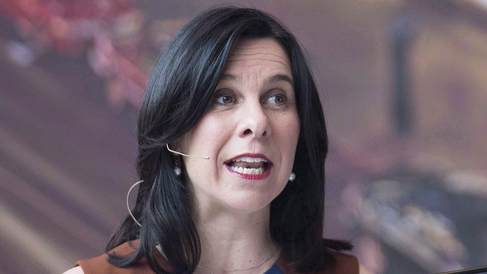 Montreal Mayor Valerie Plante speaks during a news conference in Montreal on April 26, 2018. THE CANADIAN PRESS/Graham Hughes