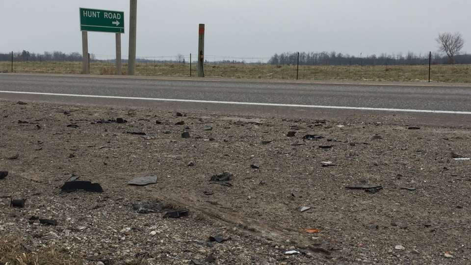 Debris litters the shoulder near a fatal collision on Highway 2 just west of Thamesford, Ont. on Wednesday, Dec. 5, 2018. (Bryan Bicknell / CTV London)