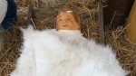 Baby Jesus has been returned to the manger in the nativity scene outside Renfrew town hall