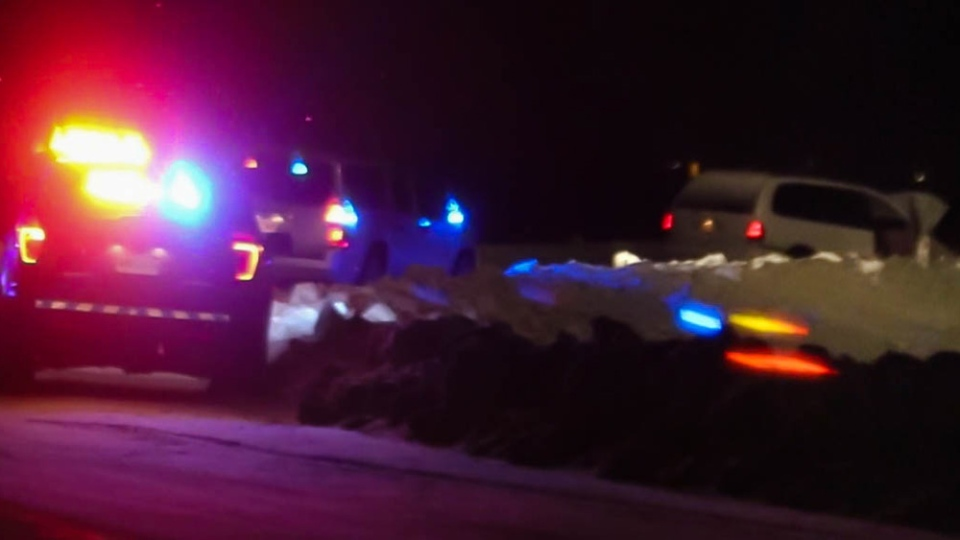 The RCMP deployed a spike belt in Painsec, N.B. to stop two men who allegedly fled from police after an attempted robbery in Springhill, N.S. on Dec. 4, 2018. (Submitted: Wade Perry)