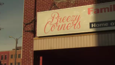 The Breezy Corners sign in Guelph