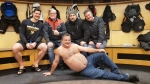 "Hockey player Sydney Crosby, left, hangs out with cast members from the ""Trailer Park Boys"" in the Pittsburgh Penguins locker room. (MSmithBubbles/ Twitter)"