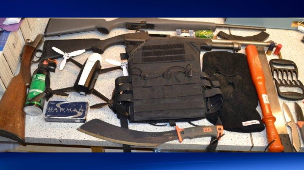 Weapons seized during a December 4 RCMP response in Innisfail that resulted in the arrest of Kent Leigh Nichol (RCMP)