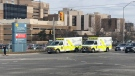 Two ambulances are seen outside Victoria Hospital in London, Ont. on Wednesday, Dec. 5, 2018. (Adrienne South / CTV London)