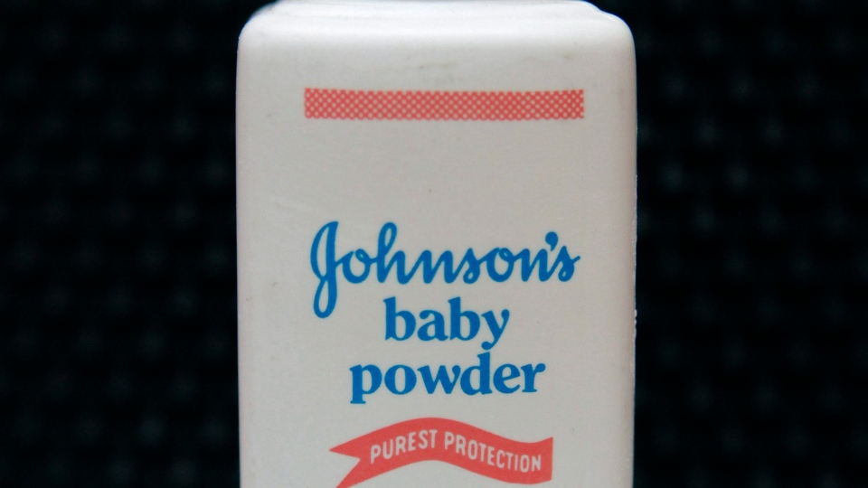 In this April 15, 2011, file photo, a bottle of Johnson's baby powder is displayed. (AP Photo/Jeff Chiu, File)