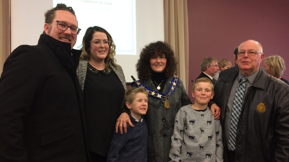 Sandie MacDonald, Essa Township's new mayor, stands with her family on Wednesday, Dec. 5, 2018 (CTV News/Aileen Doyle)