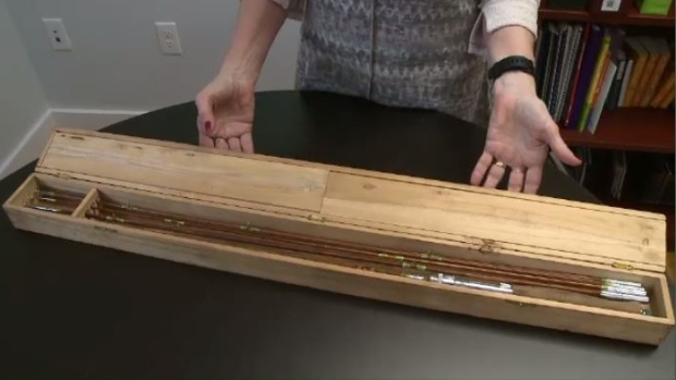 Antique Japanese bamboo fishing pole found in wall of Pictou County home