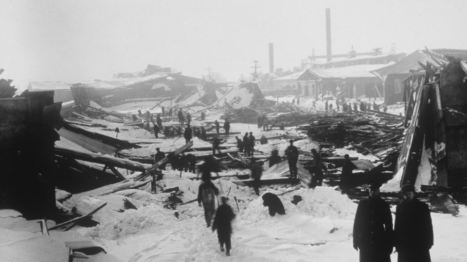 The aftermath of an explosion after two wartime ships collided in the harbour in Halifax is seen on Dec. 6, 1917. THE CANADIAN PRESS/National Archives of Canada