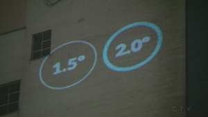 A clock showing how quickly average temperatures will rise is being displayed at Concordia University.