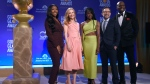 Golden Globe Ambassador Isan Elba, daughter of actor Idris Elba, from left, Leslie Mann, Danai Gurira, Christian Slater and Terry Crews pose following the nominations for the 76th Annual Golden Globe Awards at the Beverly Hilton hotel on Thursday, Dec. 6, 2018, in Beverly Hills, Calif. The 76th annual Golden Globe Awards will be held on Sunday, Jan. 6, 2019. (Photo by Chris Pizzello/Invision/AP).