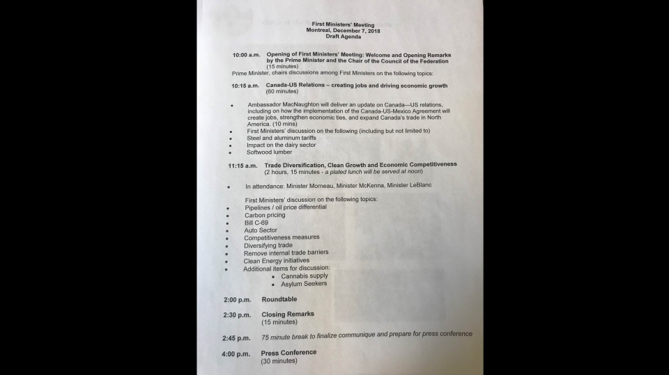 A copy of the agenda proposed by Premiers, which was rejected by the prime minister's office