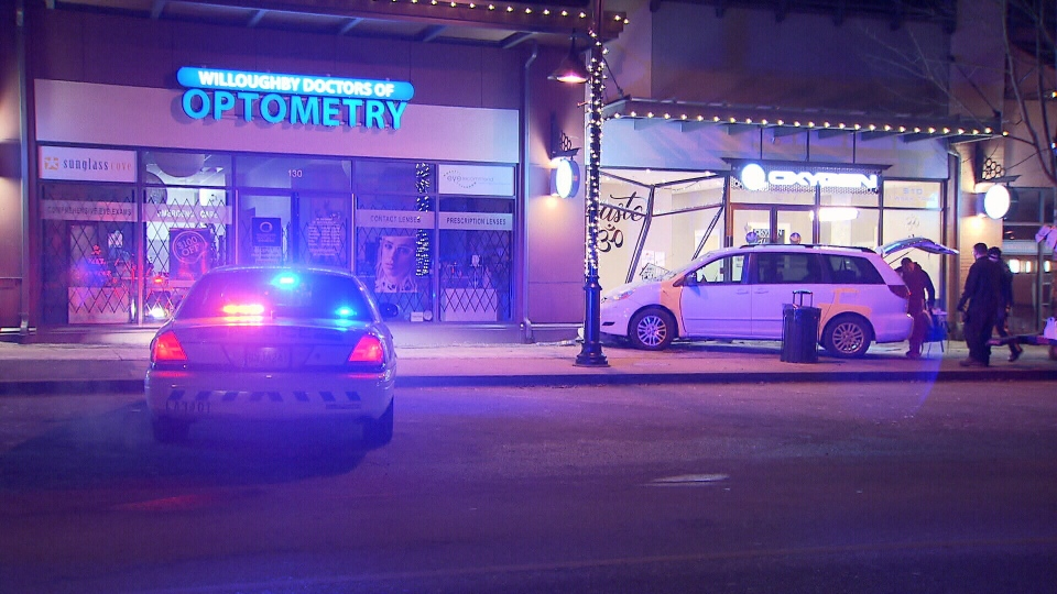 A minivan jumped the sidewalk at Willougbhy Town Centre and crashed into a yoga studio Wednesday night.