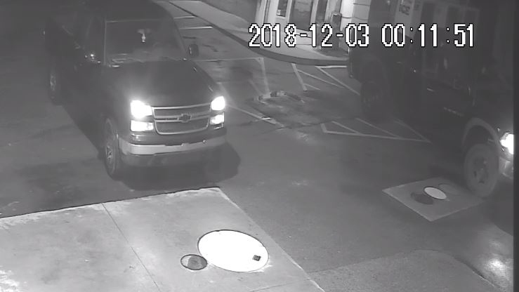 OPP released this photo of a pickup truck sought in connection with an ATM theft at a gas station in Port Rowan, Ont. on Monday, Dec. 3, 2018.