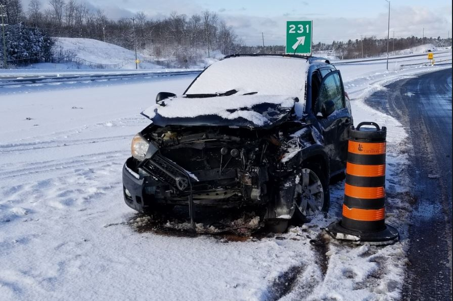 Northbound vehicle hit police cruiser on Highway 400 near Parry Sound, officer sustained serious injuries and was transported to hospital.
