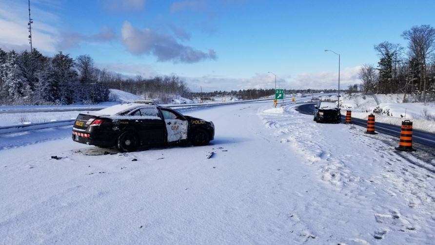 Officer conducting traffic control hit by vehicle on Highway 400