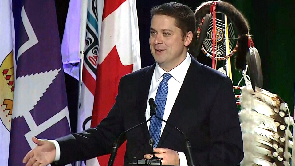 Conservative Leader Andrew Scheer speaks at the Assembly of First Nations Special Chiefs Assembly in Ottawa, Thursday, Dec. 6, 2018.