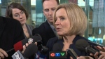 Rachel Notley speaks to media before trip to First Ministers meeting in Montreal.