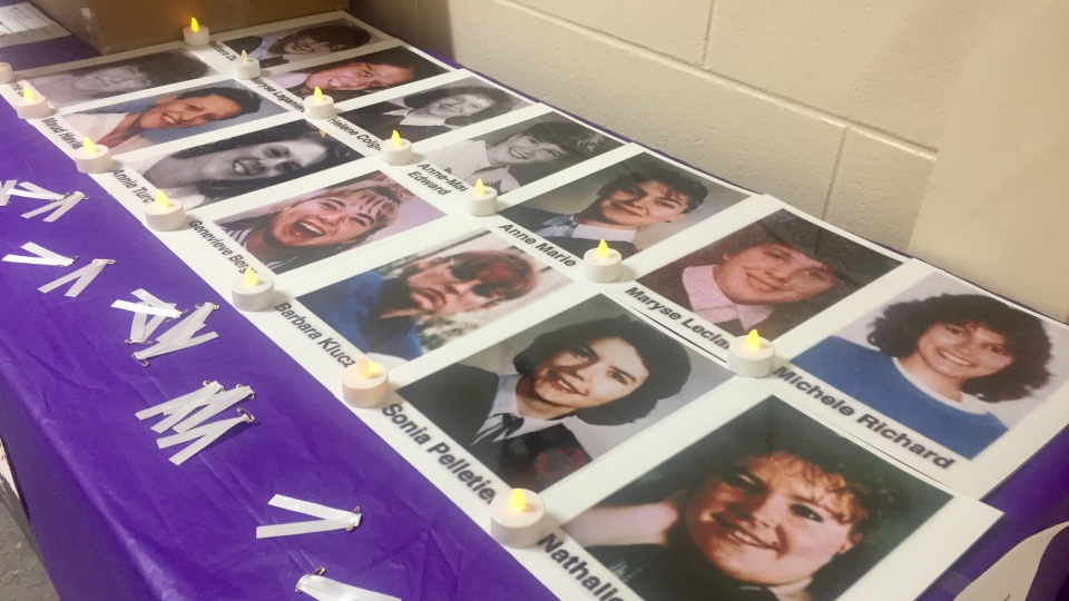 A table featuring pictures of the 14 women killed on Dec. 6, 1989 at L'Ecole Polytechnique is on display at Saskatoon's Sask. Polytechnic campus. (Laura Woodward/CTV News)