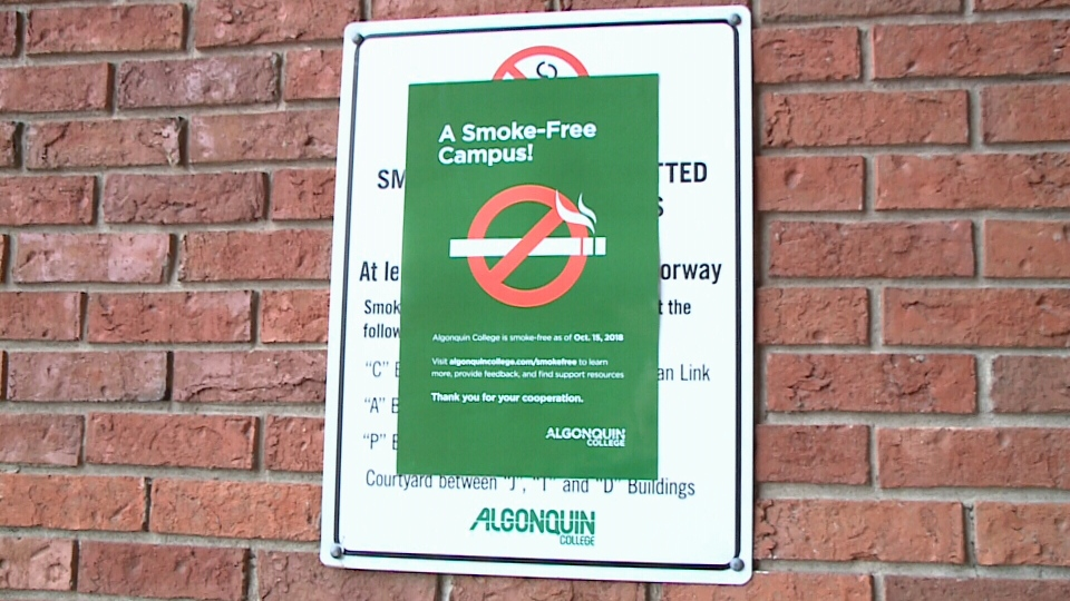 New signage indicating smoke-free campus.