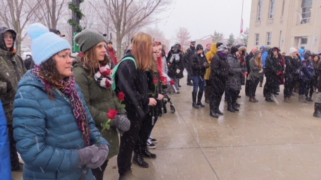 Over a hundred people gathered to mark the 29th anniversary of the massacre of 14 women at the Ecole Polytechnique de Montreal in Courthouse Park in Goderich, Ont. on Thursday, Dec. 6, 2018. (Scott Miller / CTV London)