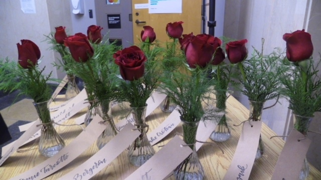 Roses represent each of the 14 women killed at the Ecole Polytechnique de Montreal in Goderich, Ont. on Thursday, Dec. 6, 2018. (Scott Miller / CTV London)