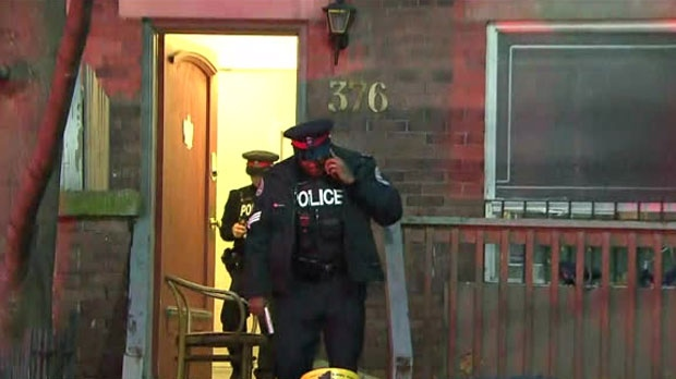 Police investigate a double stabbing in the area of George and Dundas streets on Thursday, Dec. 6, 2018.