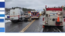 Emergency crews on scene at Hwy 69 crash