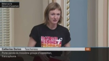 Quebec Solidaire MNA Catherine Dorion spoke to the legislature Thursday wearing a t-shirt