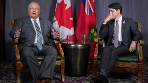 Prime Minister Justin Trudeau meets with Ontario Premier Doug Ford in Montreal on Thursday, December 6, 2018. THE CANADIAN PRESS/Paul Chiasson