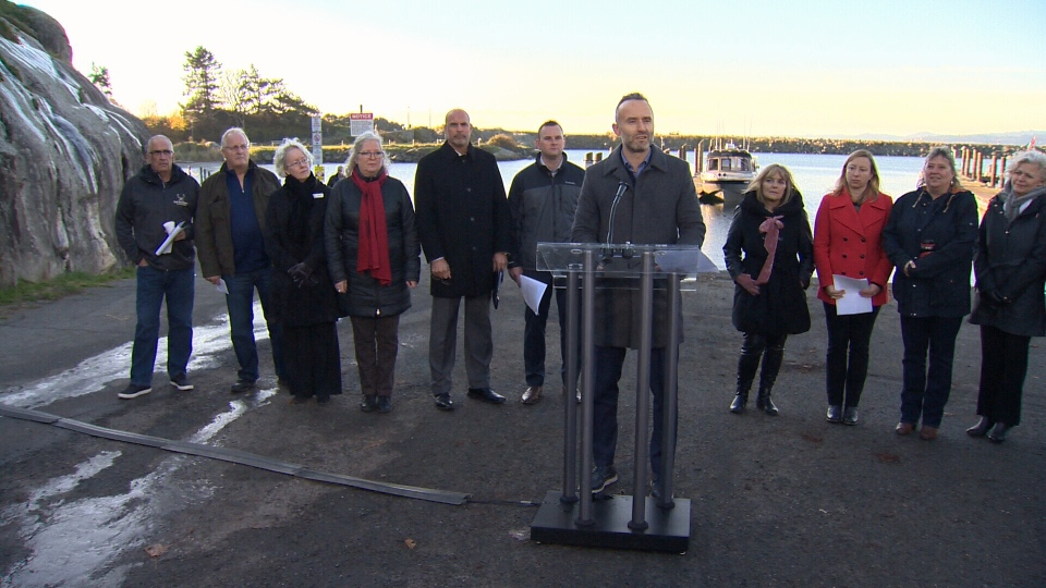About two dozen leaders gathered today at a popular sport fishing marina near Victoria to warn the federal government almost 10,000 jobs are at stake. Dec. 6, 2018 (CTV Vancouver Island)