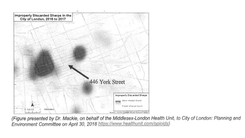 A map provided by the Middlesex-London Health Unit indicates areas with high numbers of improperly discarded needles.