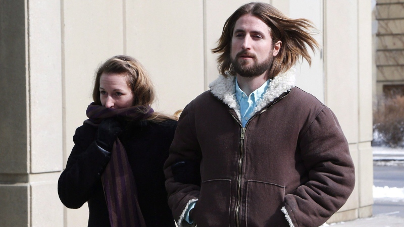 David and Collet Stephan leave for a break during their appeals trial in Calgary, Thursday, March 9, 2017. THE CANADIAN PRESS/Todd Korol