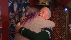 Adrian Pearce and his ex-girlfriend, Vicki Allen, shared a hug after opening the gift she gave him almost 50 years ago.