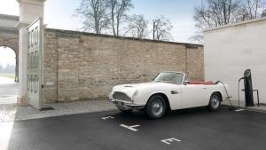 Aston Martin converted an original 1970 DB6 MkII Volante with its reversible EV powertrain concept. (Photo courtesy Aston Martin)