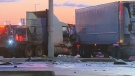 Two tractor trailers and a gravel truck were involved in a crash in Brampton in the early morning hours of Dec. 7, 2018.