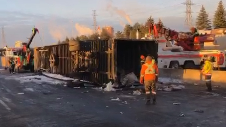 A screen-captured image of a Periscope by OPP Sgt. Kerry Schmidt from the scene of a rollover on Hwy. 401 near Hwy. 427 on Dec. 7, 2018.