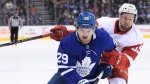 Toronto Maple Leafs William Nylander (29) oulls away from Detroit Red Wings defenceman Niklas Kronwall (55) during second period NHL action in Toronto, Thursday, Dec.6, 2018. THE CANADIAN PRESS/Nathan Denette