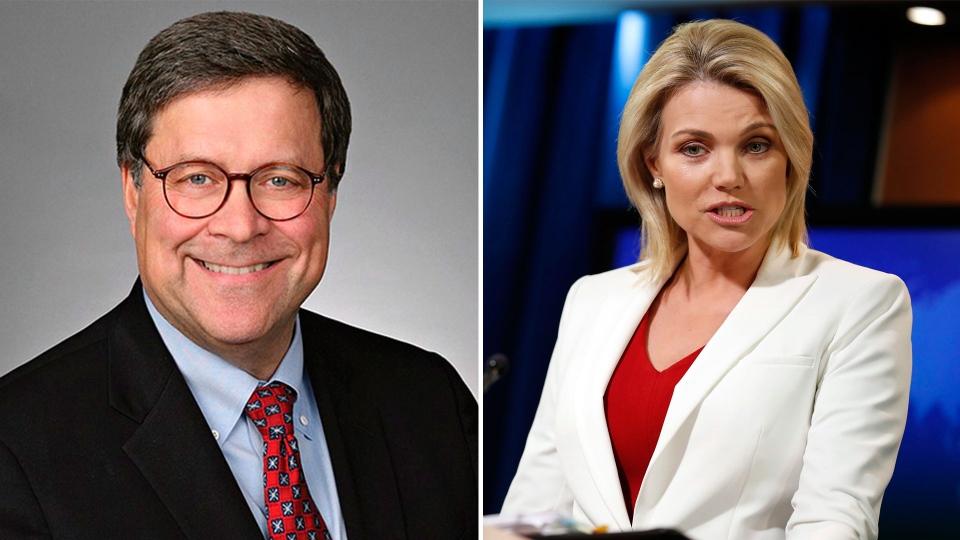 William Barr (left) and Heather Nauert are seen in this combination image. U.S. President Donald Trump has nominated Barr for attorney general, and Nauert for U.S. ambassador to the United Nations. (Time Warner, AP/Alex Brandon)