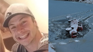 Colton Koop and the truck he may have been driving in November. (SOURCE: RCMP)